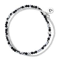 Bracelet Féerie Noir-Silver 2 Rangs