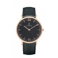 Campus Rose Gold Black, Black Leather