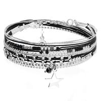 Bracelet Queen Star Noir Argent