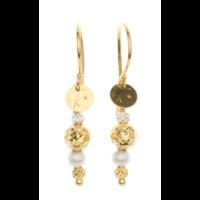 Boucles d'Oreilles Pendantes Plaqué Or et Perles