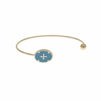 Bracelet Jonc Camé Bleu Plaqué Or