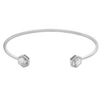 Bracelet Cluse Idylle Silver Marble Hexagons Open Cuff