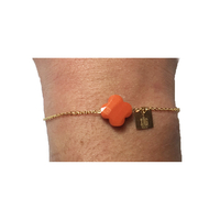 Bracelet Trèfle Doré Pierre Orange