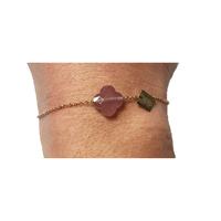 Bracelet Trèfle Doré Pierre Rose Foncée