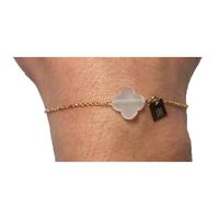 Bracelet Trèfle Doré Pierre Blanche Transparente