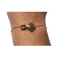 Bracelet Trèfle Doré Pierre Grise
