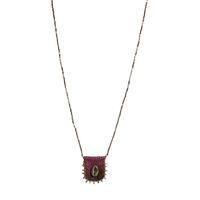 Sautoir Médaille Coquillage Fushia