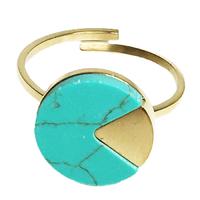 Bague Marble Rond Doré/ Turquoise