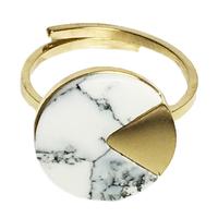 Bague Marble Rond Doré/ Blanc