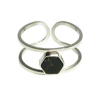 Bague Marble Large Hexagone Argent/ Noir