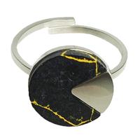 Bague Marble Rond Argent/ Noir
