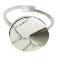 Bague Marble Rond Argent/ Blanc