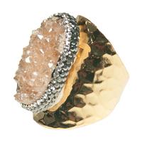 Bague Large Gold Pierres Quartz Rose & Cristaux