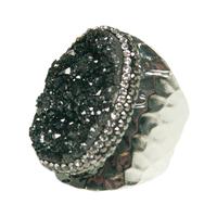 Bague Large Silver Pierres Noires & Cristaux