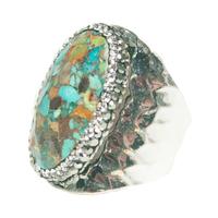 Bague Large Silver Pierres Multi-Turquoises & Cristaux