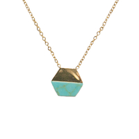 Collier Marble Hexagone Gold/ Turquoise