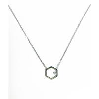 Collier Hexagone Silver Strass