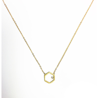 Collier Hexagone Gold Strass