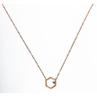 Collier Hexagone Rose Gold Strass