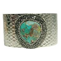 Manchette Large Silver Pierres Multi-Turquoise & Cristaux