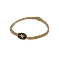 Bracelet Cordon Etoile du Nord Emaillé Noir