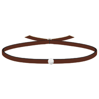 Bracelet 3 Petits Points - Diamants - Cuir Marron