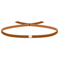 Bracelet 3 Petits Points - Diamants - Cuir Camel