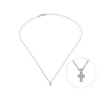 Collier Mini Croix Cristaux Argent