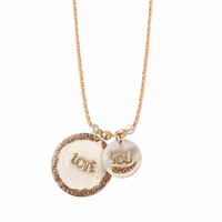 Collier Médaillon Love You Plaqué Or