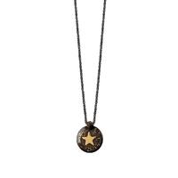 Collier Mini Médaillon Etoile Noir