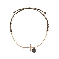 Bracelet Chaine Cordon Croix Plaqué Or