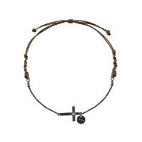 Bracelet Chaine Cordon Croix Argent Noir