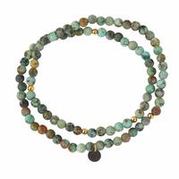 Bracelet Charms Double Vert Plaqué or