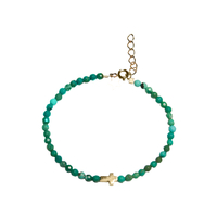 Bracelet Perles Croix Turquoise