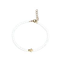 Bracelet Perles Croix Blanc