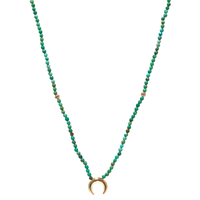 Sautoir Perles Lune Turquoise Plaqué Or