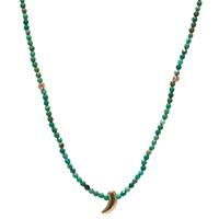 Sautoir Perles Piment Turquoise Plaqué Or