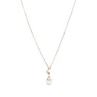 Sautoir Chapelet Chaine Perle Blanche Etoile Plaqué Or