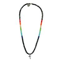 Collier Noir Multicolore Croix