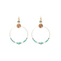 Boucles d'Oreilles Perles Créoles Turquoise GM