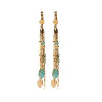 Boucles d'Oreilles Chaine Multi Feuilles Turquoises