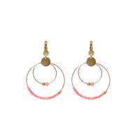 Boucles d'Oreilles Perles Double Créoles Rose