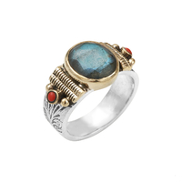 Bague Points Rouge & Labradorite