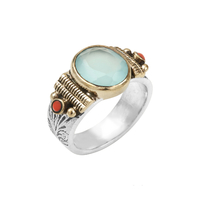 Bague Points Corail & Opaline