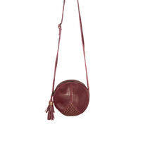 Sac Louise Cuir Rouge Bubble Or