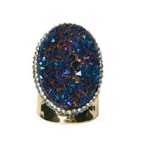 Bague Large Gold Cristaux Bleus/Violets