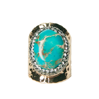 Bague Large Gold Pierre Turquoise