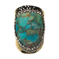 Bague Large Gold Pierres Multi-Turquoises & Cristaux