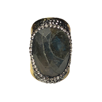 Bague Large Gold Labradorite & Cristaux
