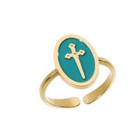 Bague Médaille Epée Turquoise Or